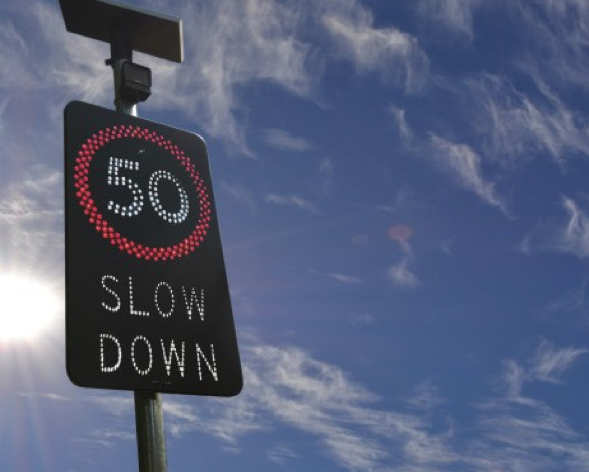 50km slow down solar powered road sign